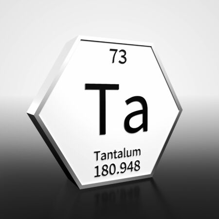 Metal hexagonal block representing the periodic table element Tantalum. Presented as black text on a white backing plate with a black and white gradient background. This image is a 3d render.