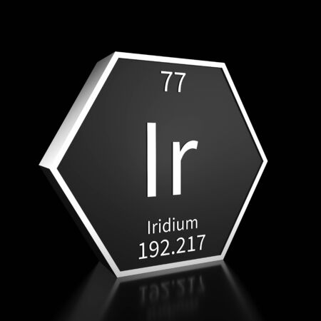 Metal hexagonal block representing the periodic table element Iridium. Presented as white text on a black backing plate with a black background. This image is a 3d render.