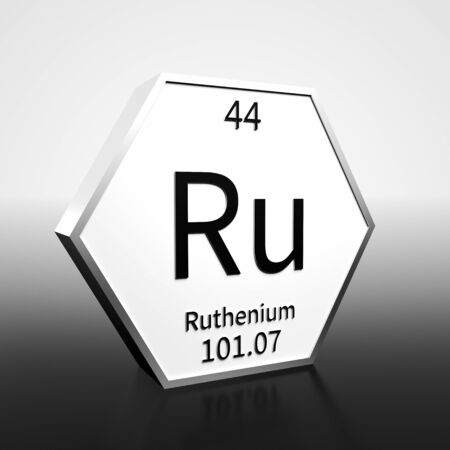Metal hexagonal block representing the periodic table element Ruthenium. Presented as black text on a white backing plate with a black and white gradient background. This image is a 3d render.