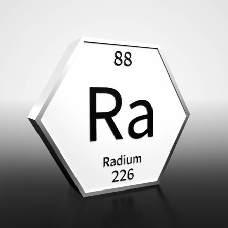 Metal hexagonal block representing the periodic table element Radium. Presented as black text on a white backing plate with a black and white gradient background. This image is a 3d render. Foto de archivo