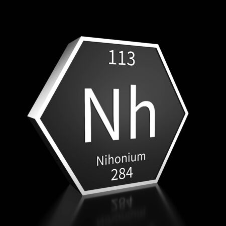 Metal hexagonal block representing the periodic table element Nihonium. Presented as white text on a black backing plate with a black background. This image is a 3d render.