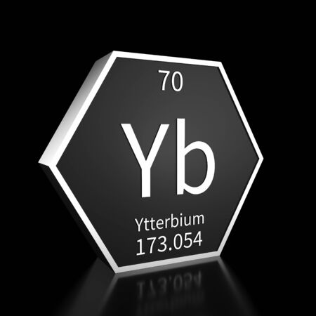 Metal hexagonal block representing the periodic table element Ytterbium. Presented as white text on a black backing plate with a black background. This image is a 3d render.