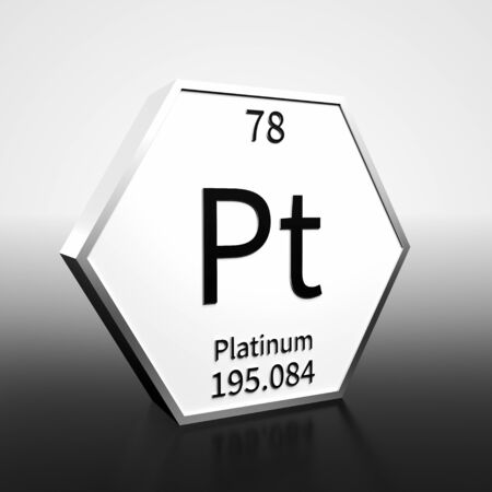 Metal hexagonal block representing the periodic table element Platinum. Presented as black text on a white backing plate with a black and white gradient background. This image is a 3d render.