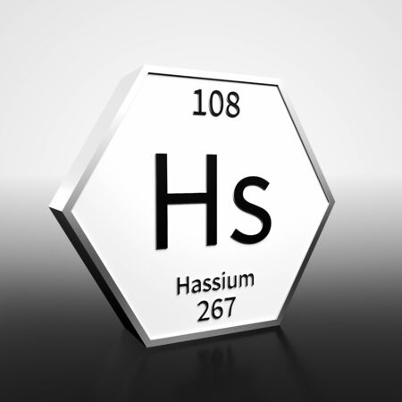 Metal hexagonal block representing the periodic table element Hassium. Presented as black text on a white backing plate with a black and white gradient background. This image is a 3d render.