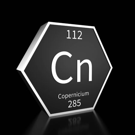 Metal hexagonal block representing the periodic table element Copernicium . Presented as white text on a black backing plate with a black background. This image is a 3d render.