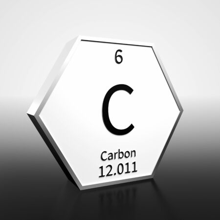 Metal hexagonal block representing the periodic table element Carbon. Presented as black text on a white backing plate with a black and white gradient background. This image is a 3d render.