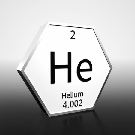 Metal hexagonal block representing the periodic table element Helium. Presented as black text on a white backing plate with a black and white gradient background. This image is a 3d render.
