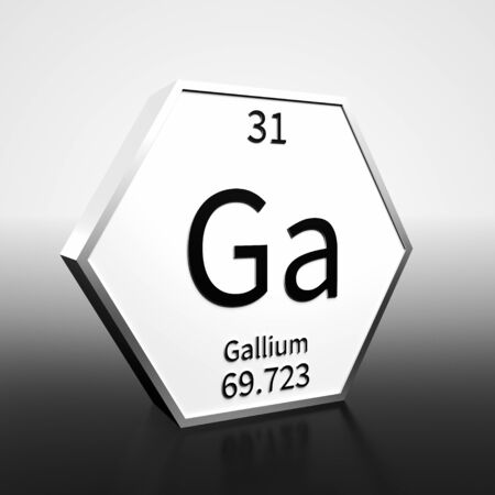 Metal hexagonal block representing the periodic table element Gallium. Presented as black text on a white backing plate with a black and white gradient background. This image is a 3d render. Foto de archivo