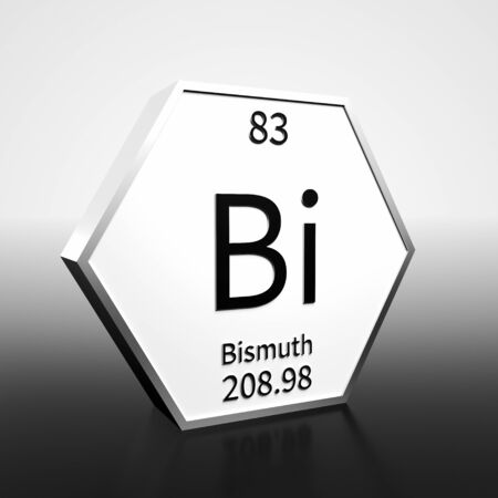 Metal hexagonal block representing the periodic table element Bismuth. Presented as black text on a white backing plate with a black and white gradient background. This image is a 3d render. Foto de archivo