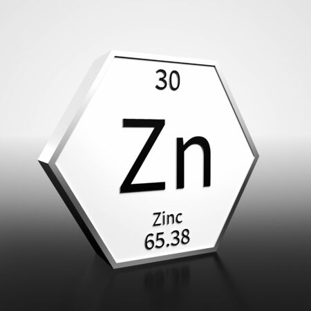 Metal hexagonal block representing the periodic table element Zinc. Presented as black text on a white backing plate with a black and white gradient background. This image is a 3d render.