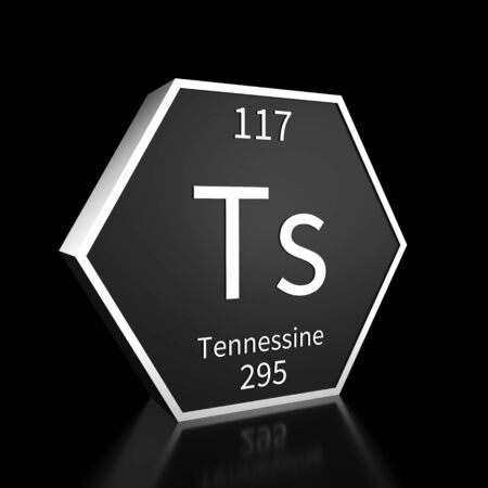 Metal hexagonal block representing the periodic table element Tennessine. Presented as white text on a black backing plate with a black background. This image is a 3d render.