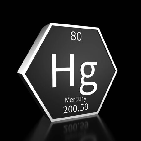 Metal hexagonal block representing the periodic table element Mercury. Presented as white text on a black backing plate with a black background. This image is a 3d render.