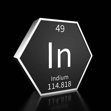 Metal hexagonal block representing the periodic table element Indium. Presented as white text on a black backing plate with a black background. This image is a 3d render.
