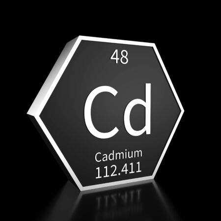 Metal hexagonal block representing the periodic table element Cadmium. Presented as white text on a black backing plate with a black background. This image is a 3d render. Foto de archivo