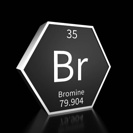 Metal hexagonal block representing the periodic table element Bromine. Presented as white text on a black backing plate with a black background. This image is a 3d render. Foto de archivo