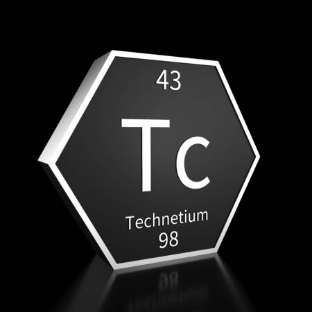 Metal hexagonal block representing the periodic table element Technetium. Presented as white text on a black backing plate with a black background. This image is a 3d render.