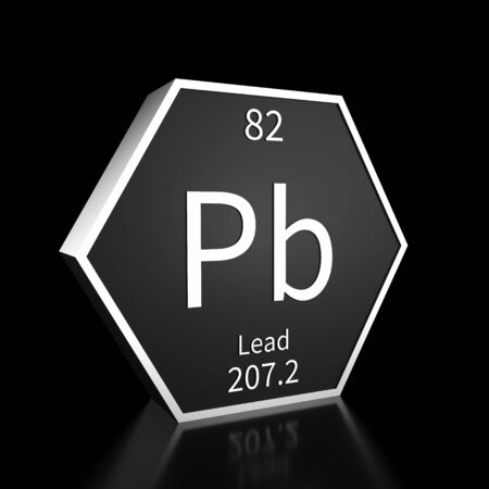Metal hexagonal block representing the periodic table element Lead. Presented as white text on a black backing plate with a black background. This image is a 3d render. 免版税图像