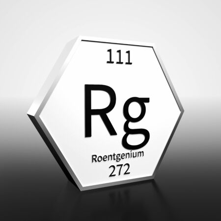 Metal hexagonal block representing the periodic table element Roentgenium . Presented as black text on a white backing plate with a black and white gradient background. This image is a 3d render.