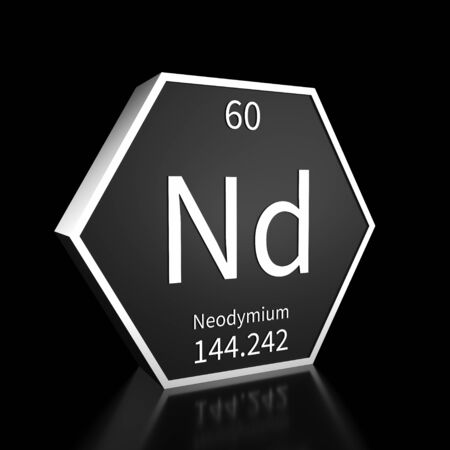 Metal hexagonal block representing the periodic table element Neodymium. Presented as white text on a black backing plate with a black background. This image is a 3d render.