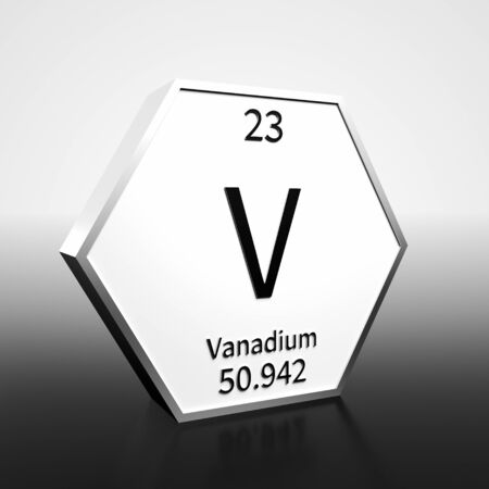 Metal hexagonal block representing the periodic table element Vanadium. Presented as black text on a white backing plate with a black and white gradient background. This image is a 3d render. Foto de archivo