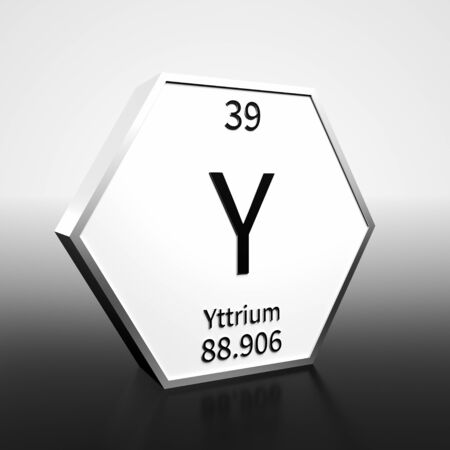 Metal hexagonal block representing the periodic table element Yttrium. Presented as black text on a white backing plate with a black and white gradient background. This image is a 3d render.