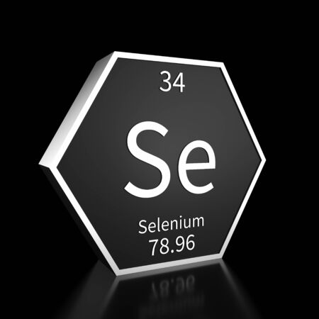 Metal hexagonal block representing the periodic table element Selenium. Presented as white text on a black backing plate with a black background. This image is a 3d render.