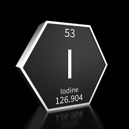Metal hexagonal block representing the periodic table element Iodine. Presented as white text on a black backing plate with a black background. This image is a 3d render.