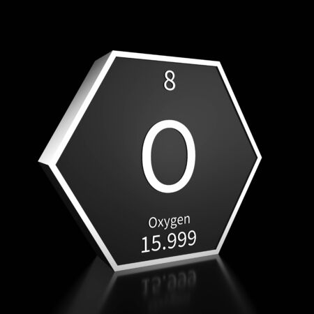 Metal hexagonal block representing the periodic table element Oxygen. Presented as white text on a black backing plate with a black background. This image is a 3d render. Foto de archivo