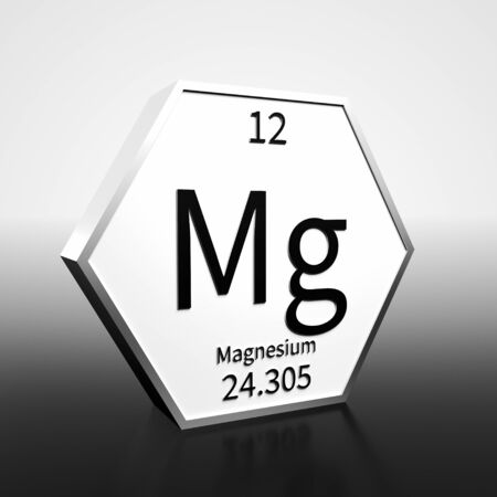 Metal hexagonal block representing the periodic table element Magnesium. Presented as black text on a white backing plate with a black and white gradient background. This image is a 3d render.