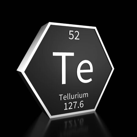 Metal hexagonal block representing the periodic table element Tellurium. Presented as white text on a black backing plate with a black background. This image is a 3d render.