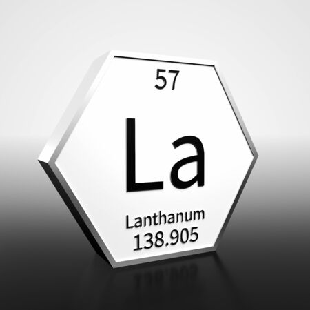 Metal hexagonal block representing the periodic table element Lanthanum. Presented as black text on a white backing plate with a black and white gradient background. This image is a 3d render. Foto de archivo