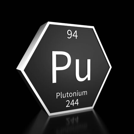 Metal hexagonal block representing the periodic table element Plutonium. Presented as white text on a black backing plate with a black background. This image is a 3d render. Foto de archivo