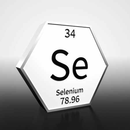 Metal hexagonal block representing the periodic table element Selenium. Presented as black text on a white backing plate with a black and white gradient background. This image is a 3d render. Foto de archivo