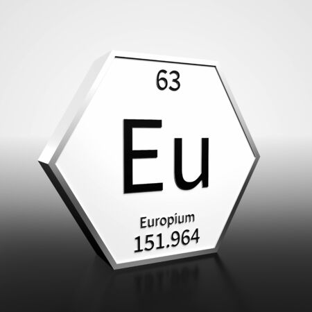 Metal hexagonal block representing the periodic table element Europium. Presented as black text on a white backing plate with a black and white gradient background. This image is a 3d render. Foto de archivo