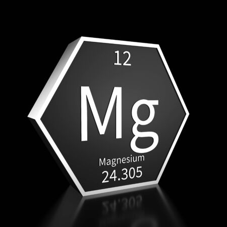 Metal hexagonal block representing the periodic table element Magnesium. Presented as white text on a black backing plate with a black background. This image is a 3d render.