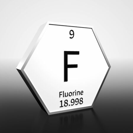 Metal hexagonal block representing the periodic table element Fluorine. Presented as black text on a white backing plate with a black and white gradient background. This image is a 3d render.