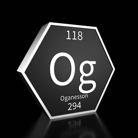 Metal hexagonal block representing the periodic table element Oganesson. Presented as white text on a black backing plate with a black background. This image is a 3d render.