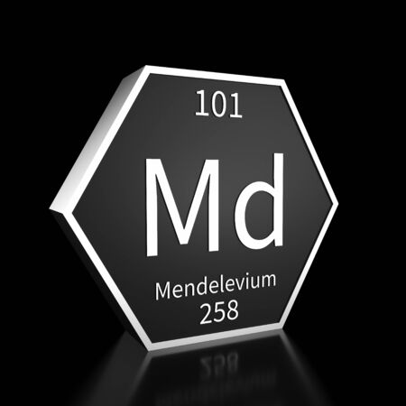 Metal hexagonal block representing the periodic table element Mendelevium. Presented as white text on a black backing plate with a black background. This image is a 3d render.