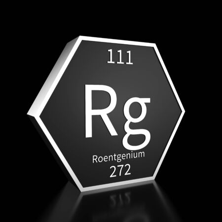 Metal hexagonal block representing the periodic table element Roentgenium . Presented as white text on a black backing plate with a black background. This image is a 3d render.