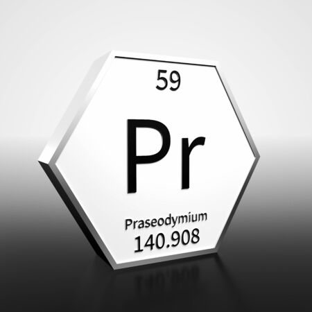 Metal hexagonal block representing the periodic table element Praseodymium. Presented as black text on a white backing plate with a black and white gradient background. This image is a 3d render.
