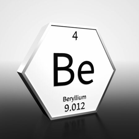 Metal hexagonal block representing the periodic table element Beryllium. Presented as black text on a white backing plate with a black and white gradient background. This image is a 3d render. Foto de archivo