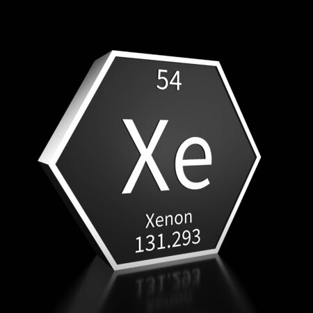 Metal hexagonal block representing the periodic table element Xenon. Presented as white text on a black backing plate with a black background. This image is a 3d render. Foto de archivo