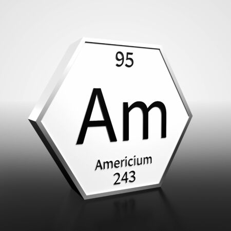 Metal hexagonal block representing the periodic table element Americium. Presented as black text on a white backing plate with a black and white gradient background. This image is a 3d render. Foto de archivo