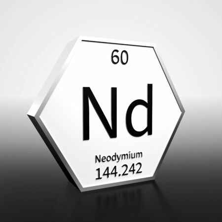 Metal hexagonal block representing the periodic table element Neodymium. Presented as black text on a white backing plate with a black and white gradient background. This image is a 3d render.