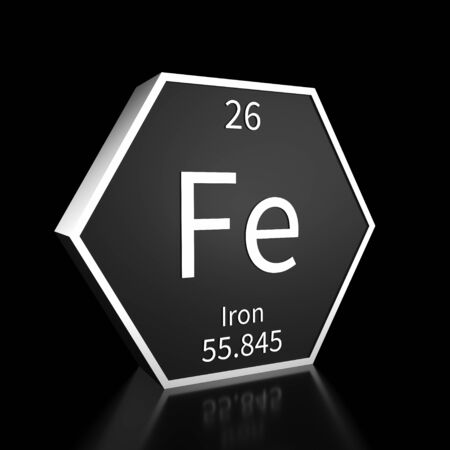 Metal hexagonal block representing the periodic table element Iron. Presented as white text on a black backing plate with a black background. This image is a 3d render.