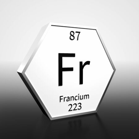 Metal hexagonal block representing the periodic table element Francium. Presented as black text on a white backing plate with a black and white gradient background. This image is a 3d render.