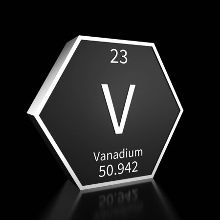 Metal hexagonal block representing the periodic table element Vanadium. Presented as white text on a black backing plate with a black background. This image is a 3d render.