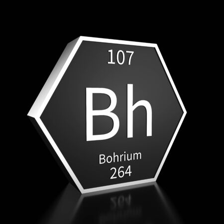 Metal hexagonal block representing the periodic table element Bohrium. Presented as white text on a black backing plate with a black background. This image is a 3d render.