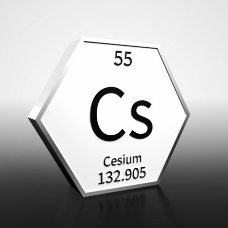 Metal hexagonal block representing the periodic table element Cesium. Presented as black text on a white backing plate with a black and white gradient background. This image is a 3d render. Foto de archivo - 137759202