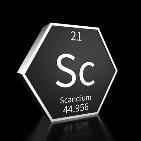 Metal hexagonal block representing the periodic table element Scandium. Presented as white text on a black backing plate with a black background. This image is a 3d render. Foto de archivo - 137759203
